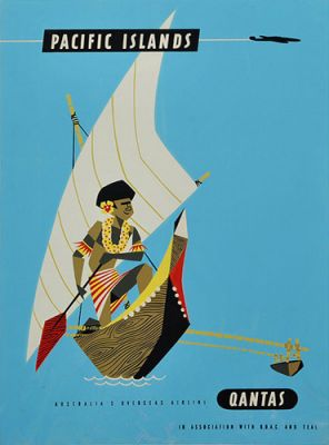 Qantas Pacific Islands Native In Boat by Harry Rogers