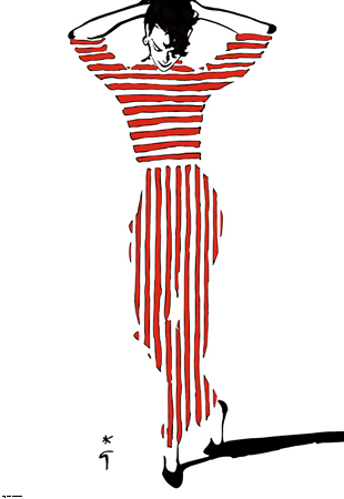 Model in red stripes